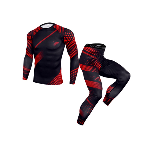 Mens Sport Running Set Compression T-Shirt + Pants Skin-Tight Long Sleeves Fitness Rashguard MMA Training Clothes Gym Yoga Suits