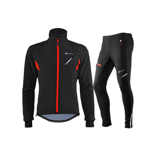 Cycling Bike Bicycle Long sleeve Jacket Pant Sets Winter Thermal Fleece Jersey Windproof Reflective Sportswear Clothing