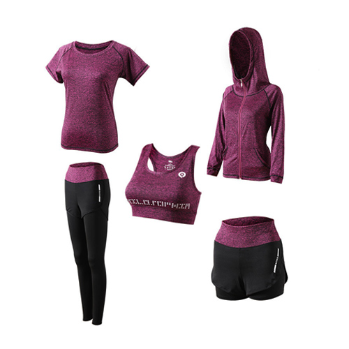 1Set Women 5 Piece Yoga Set for Running T-Shirt Fitness Bra Sports Wear Fitness Kleding Vrouwen Gym Clothing Workout Sports Suit