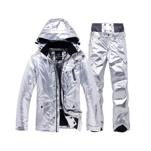 Hot Silver Ski Suit Men Women Snowsuit Winter Outdoor Sportswear Skiing Clothing Waterproof Warm Thick Snowboard Jacket Pant Set