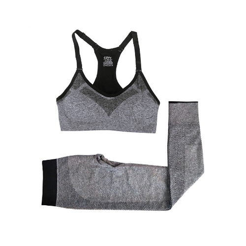 VEAMORS Gray Yoga Sets Women Fitness Sportswear Breathable Slim Sexy Tracksuit Ladies Quick Dry Elastic Sports Sets Solid Color