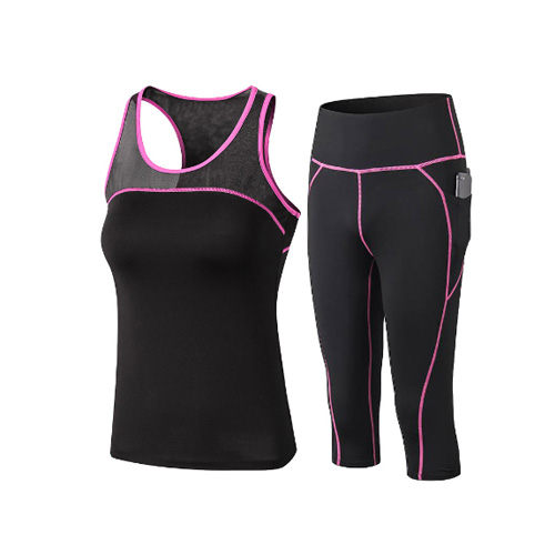 2020 New Women's Fitness 2 Piece Suit Yoga Sets Gym Clothing Leggings+Sports Vest Running Tights Workout Sportswear Yoga Pants